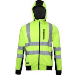 Bluza ostrzegawcza LAHTI PRO L40124 Odblaskowa do pracy wysokiej widoczności ciepła z kapturem na suwak na zamek dla pracowników odzież bhp sklep drogowców czarno żółta przód