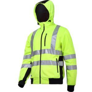 Bluza ostrzegawcza LAHTI PRO L40124 Odblaskowa do pracy wysokiej widoczności ciepła z kapturem na suwak na zamek dla pracowników odzież bhp sklep drogowców czarno żółta