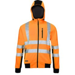 Bluza ostrzegawcza LAHTI PRO L40125 Odblaskowa do pracy wysokiej widoczności ciepła z kapturem na suwak na zamek dla pracowników odzież bhp sklep drogowców czarno pomarańczowa przód