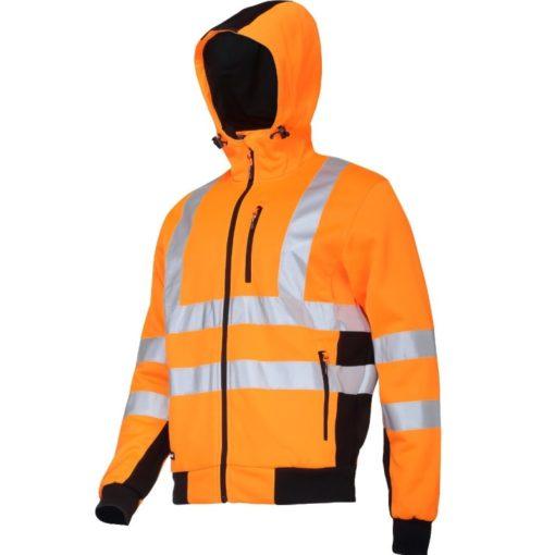 Bluza ostrzegawcza LAHTI PRO L40125 Odblaskowa do pracy wysokiej widoczności ciepła z kapturem na suwak na zamek dla pracowników odzież bhp sklep drogowców czarno pomarańczowa
