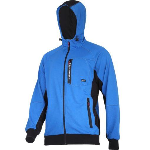 Bluza robocza z kapturem LAHTI PRO L40127 Niebieska bluzka do pracy ciepła na suwak z suwakiem długi rękaw bawełniana wygodna ze ściągaczem niebieska sklep bhp odzież ochronna dla pracownika wiatroszczelna