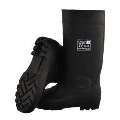 Buty robocze GALMAG 105 S5 SRC Kalosze gumowce 38cm z noskiem podnoskiem stalowym metalowym z blachą stalkapy buty z pvc obuwie bezpieczne bhp sklep czarne wodoodporne antypoślizgowe olejoodpone