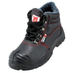 Buty robocze GALMAG 491 S1 SRC Ocieplane trzewiki bezpieczne stalkapy z noskiem metalowym podnoskiem z blachą obuwie bhp sklep system internetowy skórzane ciepłe z futerkiem na zimę zimowe antypoślizgowe czarne