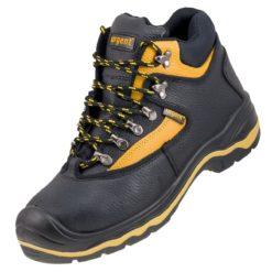 Buty robocze URGENT 102 S1 do pracy robocze ochronne obuwie bezpieczne stalkapy z podnoskiem z blachą noskiem metalowym wysokie za kostkę skórzane skórkowe bhp sklep czarne żółte przód