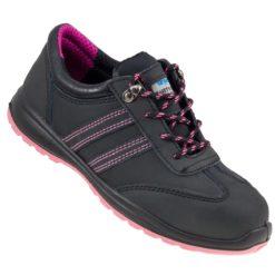 Buty robocze damskie URGENT 214 S1 obuwie bezpieczne robocze ochronne do pracy bhp sklep stalkapy z podnoskiem z blachą damskie dla kobiet skórzane skórkowe czarne różowe fioletowe