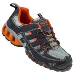 Buty robocze URGENT 215 S1 do pracy ochronne robocze stalkapy siateczkowe skórzane obuwie bezpieczne bhp sklep szare czarne pomarańczowe przód