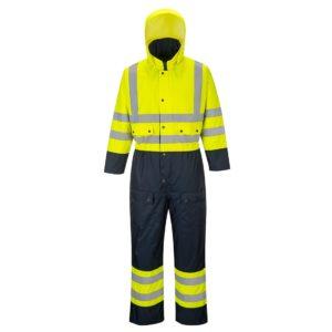 Kombinezon ostrzegawczy PORTWEST S485 Ocieplany do pracy ochronny roboczy izolowany na zimę zimowy wysokiej widoczności przeciwdeszczowy wodoodporny z kapturem pasy odblaskowe bhp sklep żółty granatowy przód
