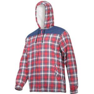 Koszula robocza flanelowa LAHTI PRO L41807 Ocieplana do pracy ochronna z kożuszkiem kufajka z kapturem w kratę flanela odzież ochronna bhp sklep czerwona granatowa biała bok
