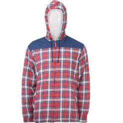 Koszula robocza flanelowa LAHTI PRO L41807 Ocieplana do pracy ochronna z kożuszkiem kufajka z kapturem w kratę flanela odzież ochronna bhp sklep czerwona granatowa biała przód