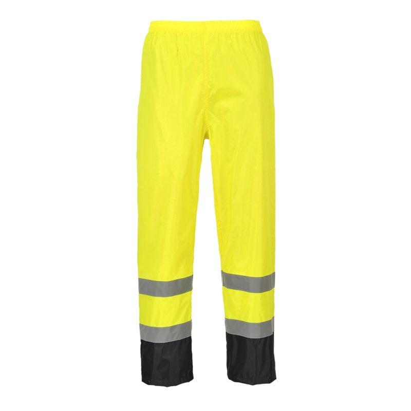 Spodnie Ostrzegawcze PORTWEST H444 Przeciwdeszczowe wodoodporne do pracy ochronne bezpieczne bhp odzież odblaskowa wysokiej widoczności z elastycznym pasem żółte czarne