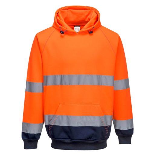 Bluza ostrzegawcza PORTWEST B316 do pracy ochronna ciepła z kapturem kangurka odblaskowa z pasami odblaskowe z kieszenią odzież bhp sklep odzież dla pracowników pomarańczowa granatowa
