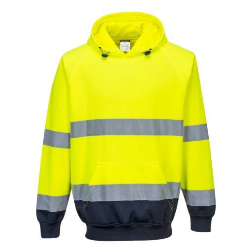 Bluza ostrzegawcza PORTWEST B316 do pracy ochronna ciepła z kapturem kangurka odblaskowa z pasami odblaskowe z kieszenią odzież bhp sklep odzież dla pracowników żółta granatowa