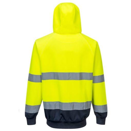 Bluza ostrzegawcza PORTWEST B316 do pracy ochronna ciepła z kapturem kangurka odblaskowa z pasami odblaskowe z kieszenią odzież bhp sklep odzież dla pracowników żółta granatowa tył