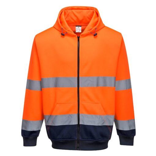 Bluza ostrzegawcza PORTWEST B317 do pracy robocza ochronna odzież bhp sklep dwukolorowa z kapturem zasuwana na zamek suwak wysokiej widoczności pomarańczowa granatowa