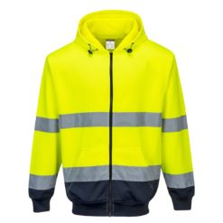 Bluza ostrzegawcza PORTWEST B317 do pracy robocza ochronna odzież bhp sklep dwukolorowa z kapturem zasuwana na zamek suwak wysokiej widoczności żółta granatowa