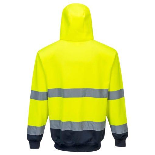 Bluza ostrzegawcza PORTWEST B317 do pracy robocza ochronna odzież bhp sklep dwukolorowa z kapturem zasuwana na zamek suwak wysokiej widoczności żółta granatowa tył