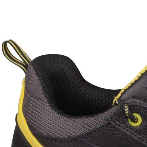 Buty robocze DELTA PLUS CARAVELLE S3 SRC do pracy ochronne robocze półbuty bezpieczne obuwie bhp sklep czarne przed kostkę z noskiem podnoskiem kompozytowym antyprzebiciowe z wkładką antypoślizgowe skórzane skórkowe amagnetyczne detal