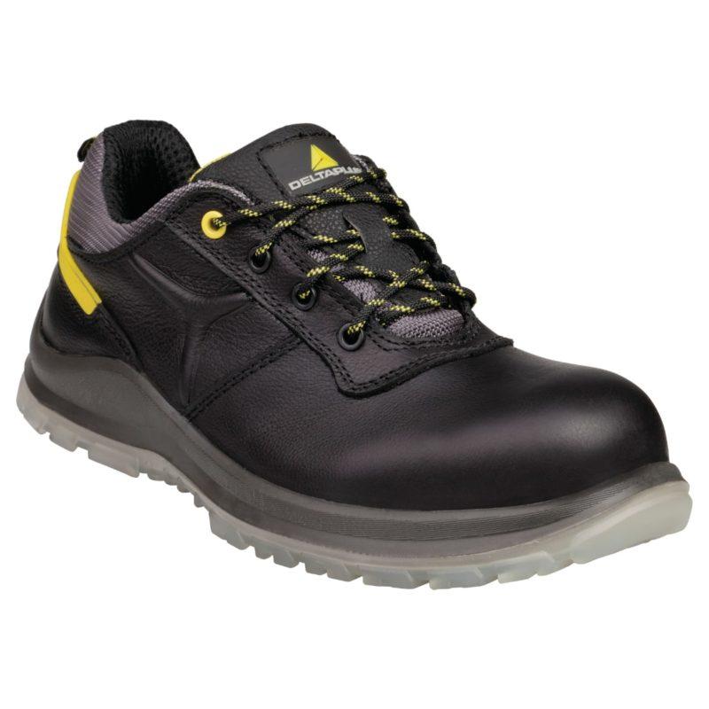 Buty robocze DELTA PLUS CARAVELLE S3 SRC do pracy ochronne robocze półbuty bezpieczne obuwie bhp sklep czarne przed kostkę z noskiem podnoskiem kompozytowym antyprzebiciowe z wkładką antypoślizgowe skórzane skórkowe amagnetyczne