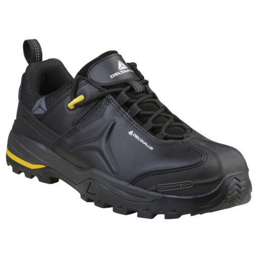 Buty robocze DELTA PLUS TW302 S3 SRC półbuty do pracy ochronne obuwie bezpieczne bhp sklep nieskie czarne antypoślizgowe z wkładką antyprzebiciowe podnosek kompozytowy amagnetyczne do pracy panoply czarne żółte