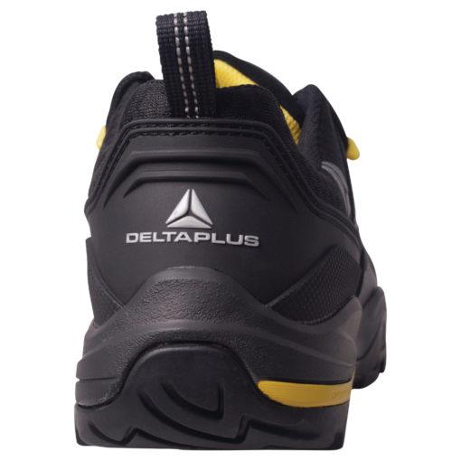 Buty robocze DELTA PLUS TW302 S3 SRC półbuty do pracy ochronne obuwie bezpieczne bhp sklep nieskie czarne antypoślizgowe z wkładką antyprzebiciowe podnosek kompozytowy amagnetyczne do pracy panoply czarne żółte tył