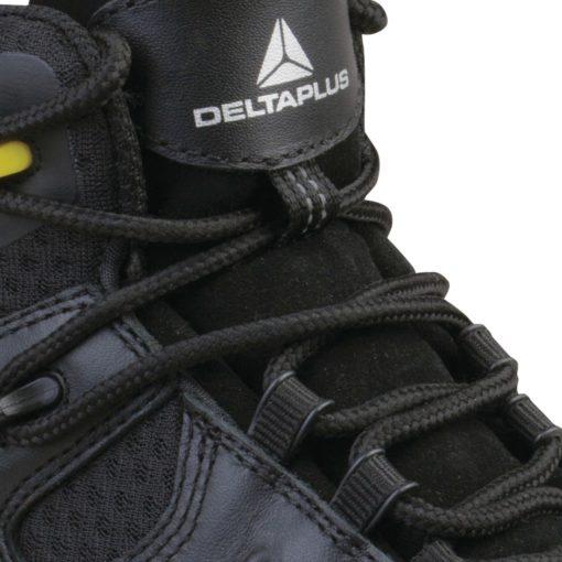 Buty robocze DELTA PLUS TW402 S3 SRC wysokie obuwie ochronne trzewiki bezpieczne bhp sklep licowe skórzane skórkowe z podnoskiem noskiem wkładka antyprzebiciowa czarne żółte sznurowane panoply amagnetyczne język