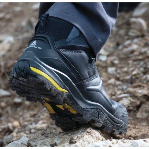 Buty robocze DELTA PLUS TW402 S3 SRC wysokie obuwie ochronne trzewiki bezpieczne bhp sklep licowe skórzane skórkowe z podnoskiem noskiem wkładka antyprzebiciowa czarne żółte sznurowane panoply amagnetyczne na stopie