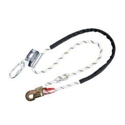 Linka pozycjonująca z zaczepem na linę PORTWEST FP26 do pracy na wysokości asekuracyjna z hakiem na rusztowaniach bezpieczna wspinaczkowa odzież ochronna bhp sklep biała czarna stalowa