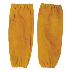 Rękawy spawalnicze PORTWEST SW20 do pracy ochronne robocze skórzane skórkowe skóra bydlęca mankiety elastyczne do pracy dla spawacza brązowe beżowe odzież bhp