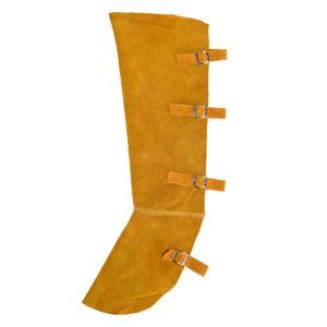 Skórzany ochronnik obuwia dla spawacza PORTWEST SW32 ochraniacze nakładki na buty ochronniki nakładka skórzana skórkowa dwoina bydlęca ochronny roboczy regulowany odzież bhp dla spawacza spawalniczy brązowy beżowy
