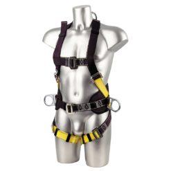Dwupunktowe Szelki Bezpieczeństwa PORTWEST FP15 uprząż do pracy na wysokości wysokościówka mocne nylonowe 2 punkty mocowania ochronne odzież ochronna bhp sklep robocza środki ochrony przód czarno żółte wygodne wyściełane asekuracyjne
