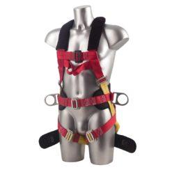 Trzypunktowe Szelki Bezpieczeństwa PORTWEST FP18 do pracy uprząż wysokościówka praca na wysokości ochronne środki ochrony miękka wyściełana 3 punktowe taśmy nylonowe odzież robocza bhp sklep ochronna przód czerwone żółte asekuracyjne