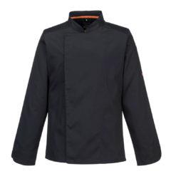 Bluza kucharska PORTWEST C838 Długi Rękaw do kuchni dla pracowników kucharzy kucharza przewiewna lekka wentylowana asymetryczna nowoczesna odzież robocza bhp sklep ubranie ochronne kuchenne czarne przód