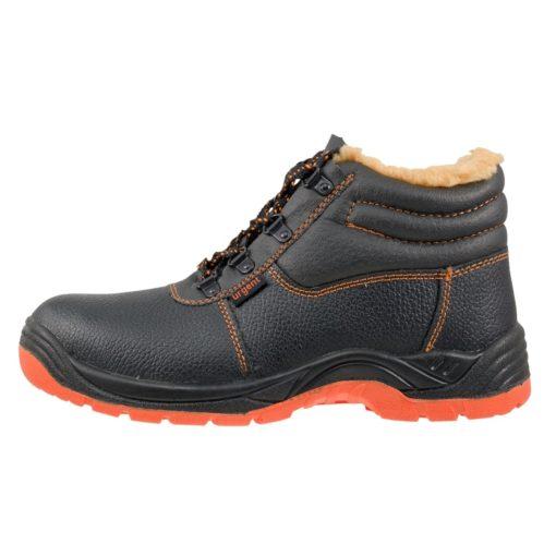 Buty robocze ocieplane URGENT 106 OB do pracy bez podnoska obuwie zawodowe skórzane zimowe na zimę ciepłe trapery trzewiki czarne pomarańczowe tanie bok