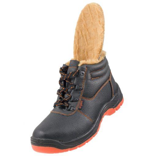 Buty robocze ocieplane URGENT 106 SB stalkapy z noskiem podnoskiem blachą obuwie bhp ochronne skórzane skórkowe sznurowane ciepłe na zimę zimowe bezpieczne sklep bhp urgent czarne pomarańczowe