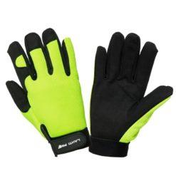 Rękawice ochronne LAHTI PRO L2803 warsztatowe z mikrofibry ostrzegawcze żółte czarne na rzep wysokiej jakości ochronne bhp sklep żółte czarne