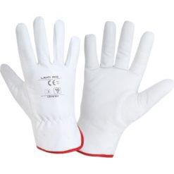 Ocieplane rękawice robocze LAHTI PRO L2514 skórka kozia miękkie do pracy ochronne bhp sklep białe ze ściągaczem skórkowe odzież robocza