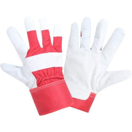 Ocieplane rękawice robocze LAHTI PRO L251510K skórkowe dla kierowcy ochronne drelichowe z wysokim mankietem do pracy miękkie biało czerwone wygodne na zimę ocieplane polarem podszewka bhp sklep