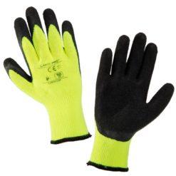 Rękawice Ochronne Ocieplane LAHTI PRO L2504 ciepłe do pracy zimowe na zimę z powleczeniem ochronnym lateksowe do pracy robocze ochronne rękawiczki żółte czarne sklep bhp