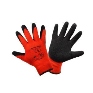 Rękawice Ochronne Ocieplane LAHTI PRO L2510 do pracy ochronne ciepłe akrylowe dzianinowe z powleczeniem czarnym lateks rękawiczki do pracy sklep bhp pomarańczowe czerwone czarne na zimę zimowe