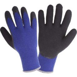 Rękawice Ochronne Ocieplane LAHTI PRO L2516 do pracy tekstylne dzianinowe akrylowe ochronne odzież bhp sklep pianka lateksowa ciepłe na zimę zimowe granatowe czarne niebieskie