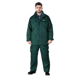 Ubranie Robocze Ocieplane REIS UMO-LONG Zimowe komplet ochronny do pracy bezpieczny ciepły odzież bhp wdzianko dla pracowników ogrodniczki kurtka parka na zimę zielone