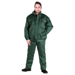 Ubranie Robocze Ocieplane REIS UMO-PLUS komplet ochronny bhp sklep system do pracy odzież bezpieczna na zimę ciepła zimowe kurtka bomber do pasa spodnie ogrodniczki szwedy z ociepliną zielone