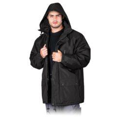 Kurtka Robocza Ocieplana REIS ALASKA do pracy ochronna ciepła zimowa na zimę dla pracowników tania dobra z kieszeniami odzież ochronna bhp sklep system z kapturem czarna