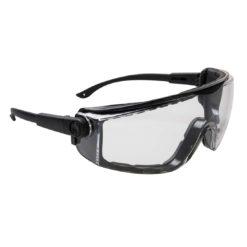 Okulary ochronne PORTWEST PS03 Focus do pracy ochronne przeciwodpryskowe na odpryski mocne przydymiane przezroczyste z regulacją środki ochrony indywidualnej okularki czarne