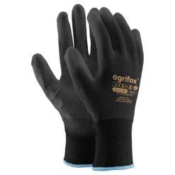 Rękawice Ochronne Ogrifox OX-POLIUR Czarne wysokiej jakości elastyczne poliestrowe mocne powlekane poliuretanem robocze bhp sklep system do pracy rękawiczki z mankietem czarne lekkie