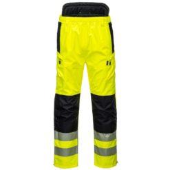 Spodnie ostrzegawcze PORTWEST PW342 Extreme do pasa w pas mocne odblaskowe dla drogowców dla pracowników premium odporne na wode wodoodporne bhp sklep system żółte czarne przód