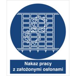 Znak Nakaz Pracy z Założonymi Osłonami do pracy piktogram bhp niebieski znak bhp sklep system znaki bezpieczeństwa i higieny pracy