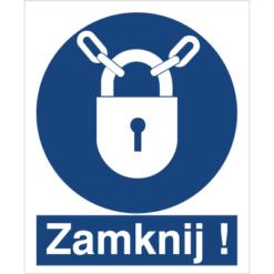 Znak Nakaz stosowania zamknięcia do pracy piktogram bhp niebieski znak bhp sklep system znaki bezpieczeństwa i higieny pracy