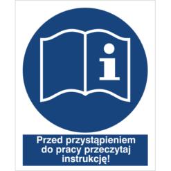 znak przed przystąpieniem do pracy przeczytaj instrukcję do pracy piktogram bhp niebieski znak bhp sklep system znaki bezpieczeństwa i higieny pracy