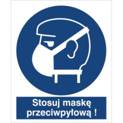 stosuj maskę przeciwpyłową do pracy piktogram bhp niebieski znak bhp sklep system znaki bezpieczeństwa i higieny pracy